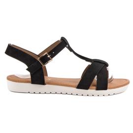 EXQUILY sort Klassiske ruskind sandaler