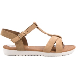 EXQUILY brun Klassiske ruskind sandaler
