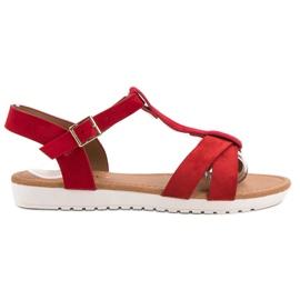 EXQUILY rød Klassiske ruskind sandaler