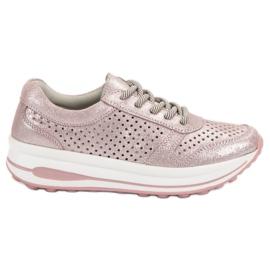 Filippo pink Læderstøvler med brocade