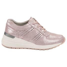 Filippo pink Læder Wedge Sneakers