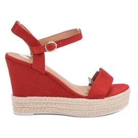 Ideal Shoes rød Stilfuldt Sandaler på Wedge