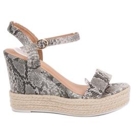 Ideal Shoes grå Stilfuldt Sandaler på Wedge