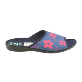 Dame tøfler i blomster Adanex navy blå