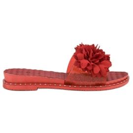 Anesia Paris rød Gummi Tøfler Med Blomster