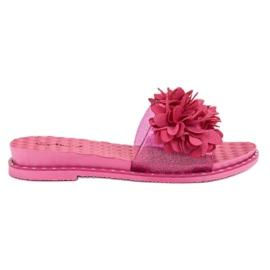 Anesia Paris pink Gummi Tøfler Med Blomster