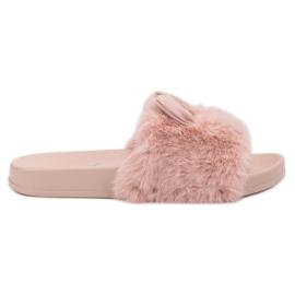 Vinceza Pink tøfler med pels
