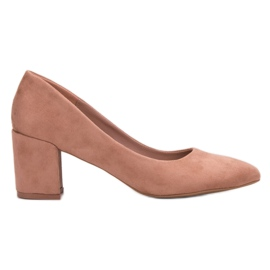 Small Swan pink Suede Pumps