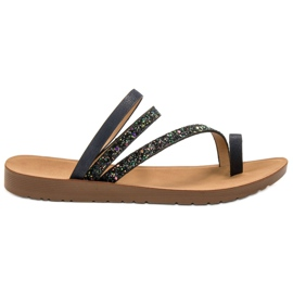 Vinceza sort Flip-flops med Brocade
