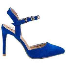 Kylie blå Stilettos med en udsat hæl