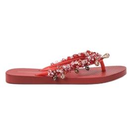 SHELOVET Gummi Flip-flops Med Ornamenter rød