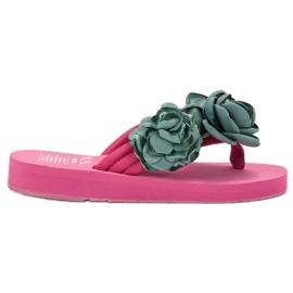 SHELOVET Lys flip-flops med blomster pink