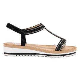 Bestelle sort Slip-on Weddered Sandals