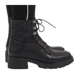 Ideal Shoes Sort blonder-up booties med paljetter 1621