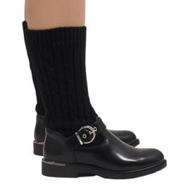 Ideal Shoes Sort varme støvler E-4939