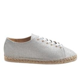 Grå Sølv espadriller laced 831-1