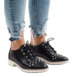 Sort openwork sko med G-106-2 studs