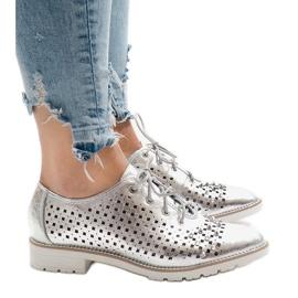 Grå Sølv openwork sko med G-106-2 studs