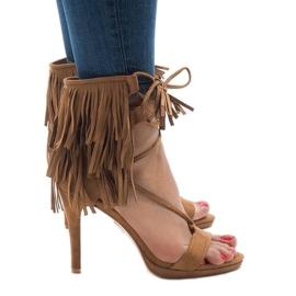 Brun Beige sandaler på stilett suh boho 8125-1