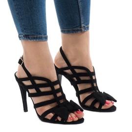 Sorte sandaler med bue 238-C5