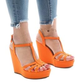 Orange kilehæl sandaler A-8A appelsin