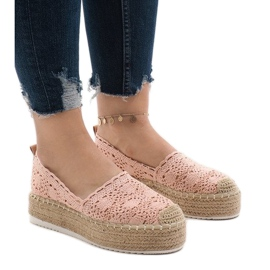 Pink sneakers espadrilles på platform 7801-P