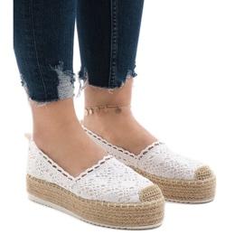 Hvide sneakers espadrilles på platform 7801-P