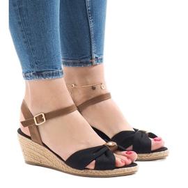 Sorte sandaler på kile 1484-1 espadrilles
