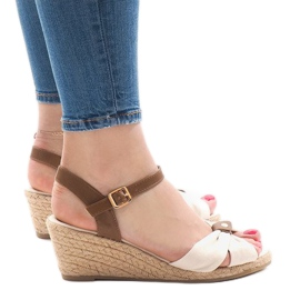 Brun Beige sandaler på kile 1484-1 espadrilles