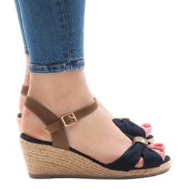 Mørkeblå sandaler på kile 1484-13 espadrilles