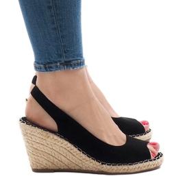 Black wedge sandals 2894 sort