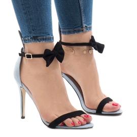 Blå suede sandaler højhælestål JZ-6334