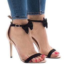Pink suede sandaler høje hæle bue JZ-6334
