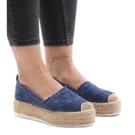 Blå sneakers espadrilles på platform 7801-P