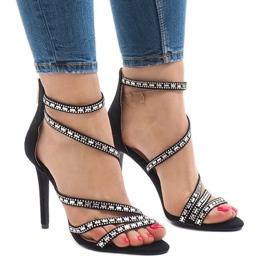 Sorte sandaler på stilett 9081-9