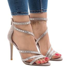 Brun Grå sandaler på 9081-9 hælen