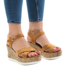 Brun Camel wedge hæl sandaler XL104