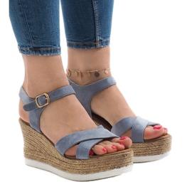 Blå sandaler på kilehæl XL104