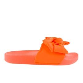 Appelsin Orange flip-flops med en neon MU-6 bue
