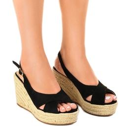 Sorte sandaler på kiler, espadrilles 68-150