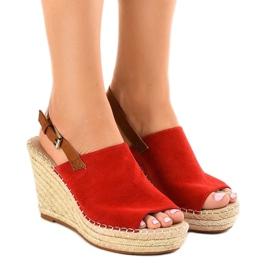 Røde sandaler kile med KA-20 espadrilles