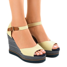 Brun Beige sandaler på kile 9079 espadrilles