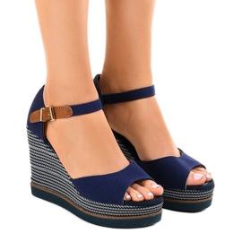 Navy Mørkeblå sandaler på kile 9079 espadrilles