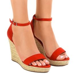 Røde sandaler på kile BD342 espadrilles