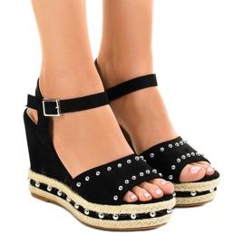 Sort Black wedge sandaler perler 77-32