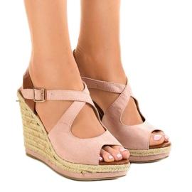 Pink sandaler på kilehælene LM-0205
