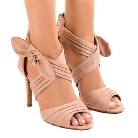 Pink suede sandaler høje hæle bue J-23