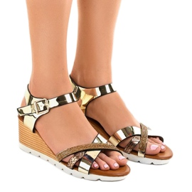 Gul Golden wedge sandaler dekoreret 3024-32