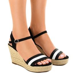 Sort Black espadrilles wedge sandals 9072