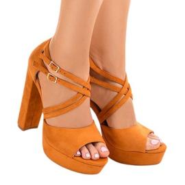 Appelsin Orange sandaler på suede stilett D09